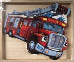 Puzzle drewniane w drewnianej ramie - straż pożarna 26 el.