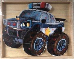 Puzzle drewniane w drewnianej ramie - policja 26 el.
