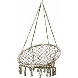Hamak ażurowy fotel wiszący 80x60cm szary krem