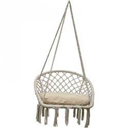 Hamak ażurowy fotel wiszący 100x60cm z poduszką ecru