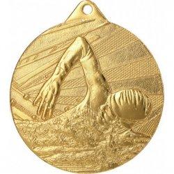 Medal 50mm stalowy złoty- pływanie ME003/G