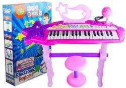 Keyboard Na Nóżkach Stołek MP3 Mikrofon Różowy