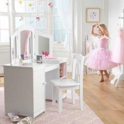 Duża Drewniana Toaletka KidKraft Deluxe z krzesełkiem dla dziewczynek