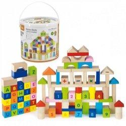 Viga Toys Klocki Drewniane Edukacyjne 100 elem. Cyferki Literki