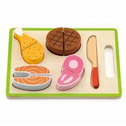 Drewniany Zestaw Obiadowy Deska Do Krojenia Nóż Viga Toys
