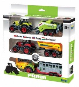 Dromader Trzy Traktory z przyczepami w pudełku