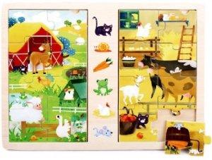 Brimarex Gra i puzzle drewniane TOP BRIGHT - Na wsi, 2 x 8 elementów