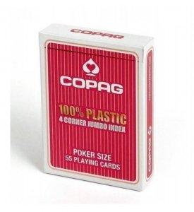 Cartamundi Karty Poker 100, Plastik PKJ4. Talia czerwona, duży index w 4 rogach