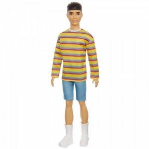 Mattel Lalka Barbie Fashionistas - Ken Bluza kolorowe paski