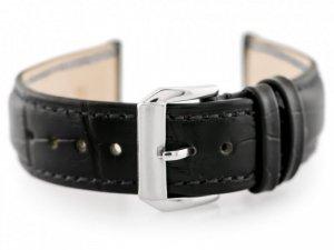 Pasek skórzany do zegarka W64 - czarny - 22mm