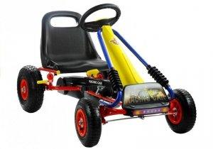 Gokart Turbo Żółty Pompowane Koła Hamulec Dla Dziecka