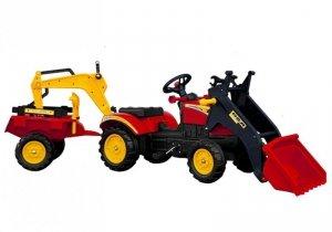 Traktor z Przyczepą i Łyżką na Pedały Benson Czerwony
