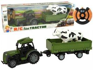 Zielony Traktor z Niską Przyczepą Figurka Konia Zdalnie Sterowany 2.4G