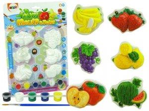Zestaw Odlewy Gipsowe Do Malowania Farby Owoce Winogrona Banany Truskawka