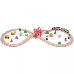 Drewniana Ogromna Stacja kolejowa 39 elementów Pociąg Kolejka Viga Toys