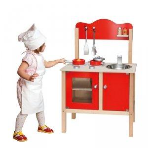 Viga Drewniana Klasyczna czerwona kuchnia z akcesoriami