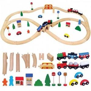 Drewniana Ogromna Stacja kolejowa 49 elementów Pociąg Kolejka Viga Toys