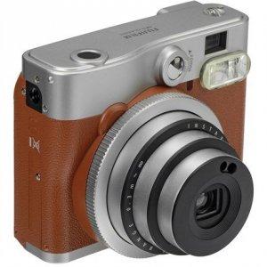 Fujifilm Instax Mini 90 NEO CLASSIC camera + Instax mini glossy (10) Brown/Stainless steel, 0.3m - ∞