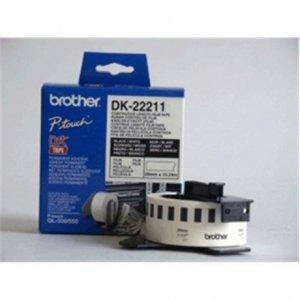 Brother DK-22211 Continuous Length Paper Label Black, White, DK, 29mm, 15.24 m