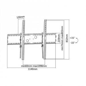 Sunne Wall Mount, 60-100-LP, 60-100 , Maximum weight (capacity) 100 kg, Black
