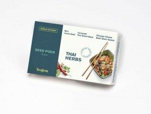 Tregren World Kitchen Thai Herbs, 6 seed pods: coriander, mint, basil Siam Queen, Thai basil, chinese chives, lemon bean, SEEDPO