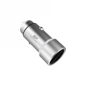 Silicon Power Dual USB Port Car Charger Adapter Boost Charger CC202P Matt Silver