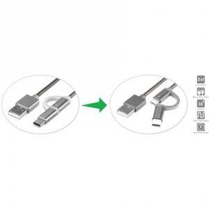 4smarts Micro-USB & USB Type-C Cable ComboCord 1m fabric black