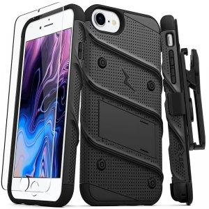 Zizo Bolt Cover - Pancerne etui iPhone SE 2020 / 8 / 7 ze szkłem 9H na ekran + podstawka & uchwyt do paska (czarny)