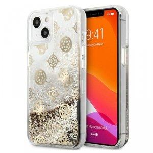 Guess Peony Liquid Glitter - Etui iPhone 13 mini (złoty)