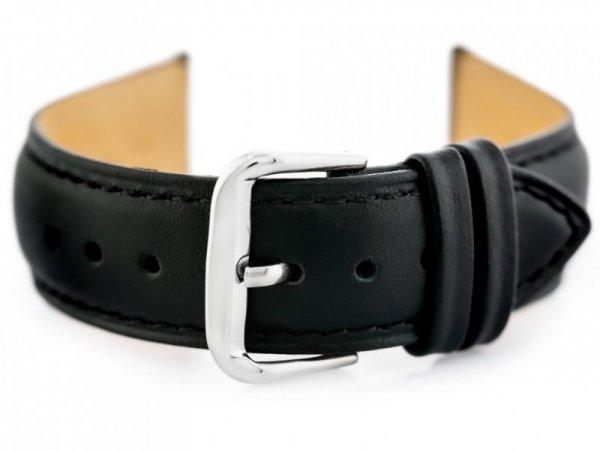 Pasek skórzany do zegarka W94 - czarny - 18mm