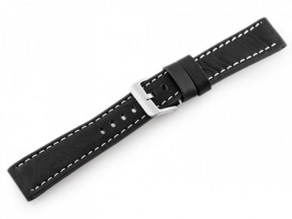 Pasek skórzany do zegarka W48 - PREMIUM - czarny/białe - 22mm