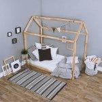 Łóżko dziecięce DOMEK sosnowe 160x80cm