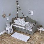Łóżko dziecięce sosnowe Zosia szare 160x80 + materac