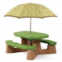 STEP2 Stół Piknikowy Piaskowy  z Parasolem Szary