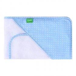 Lulando Ręcznik frotte biały + niebieski w białe kropki