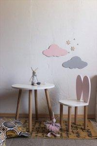 Komplet stoliczek koło + krzesełko KRÓLICZE USZKA A1 różne kolory uszu, siedziska i blatu