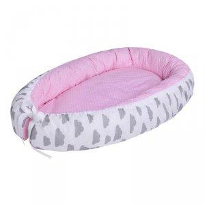 LULANDO Kokon dla dziecka - Różowy w białe groszki + Biały w szare chmurki