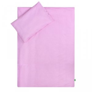 LULANDO Zestaw pościeli 40x60/100x135 cm - Różowy w białe groszki + Chmurki szare na białym