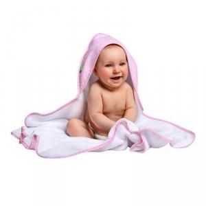 LULANDO Ręcznik frotte Biały+ Różowy w białe kropki