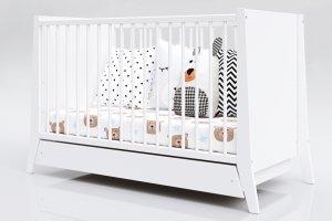 Łóżeczko niemowlęce tapczan z szufladą 2w1 COSMO biały