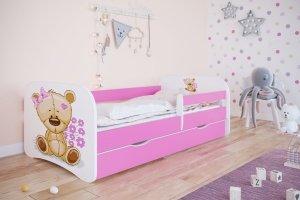 Łóżko dziecięce MIŚ Z KWIATKAMI różne kolory 160x80 cm
