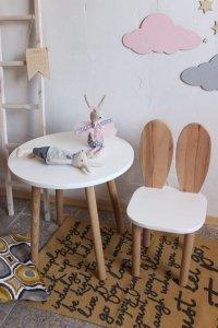 Komplet stoliczek koło + krzesełko KRÓLICZE USZKA B różne kolory siedziska i blatu