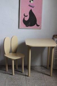 Komplet stoliczek kwadrat + krzesełko KRÓLICZE USZKA różne kolory