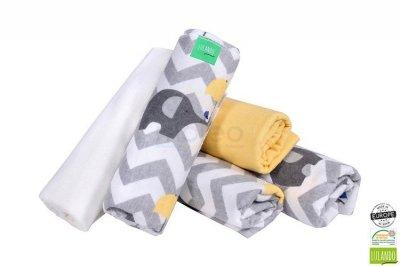 Lulando pieluszki flanelowe 70x80 słonie zółte/żółta/bia<br />ła 5 szt