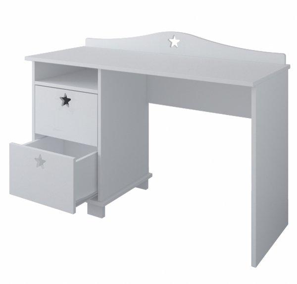 Białe biurko dziecięce GWIAZDKI z dwoma szufladami
