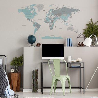 Naklejka Mapa Świata Niebieska DK346