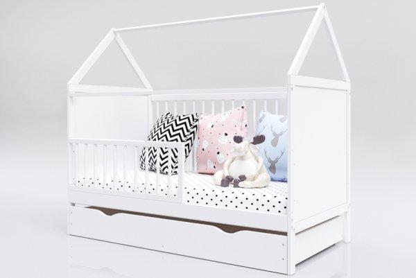 Łóżeczko niemowlęce tapczan z szufladą 2w1 Domek 140x70 biały BARIERKA GRATIS