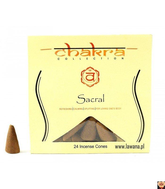 Kadzidła stożkowe SACRAL na 2 czakrę 24 sztuki Chakra Collection
