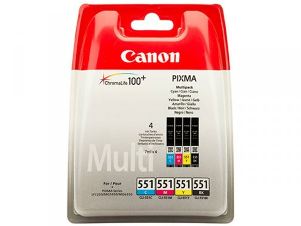 MultiPack Canon CLI-551 Cyan Magenta Yellow Black