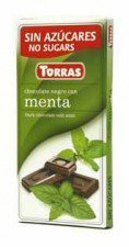 TORRAS gorzka czekolada bez cukru MIĘTA 75g